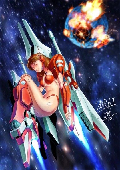 Miria transforms into starfighter by Sugippon